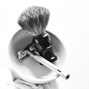 Razor, shaving brush, and bowling